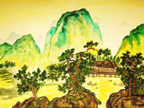 china landscape with green hills