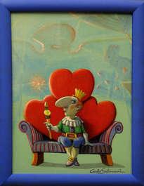 3 corazones y 1 rey ( enmarcado)