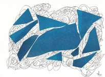 collage rayado en azul