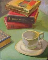 taza y libros
