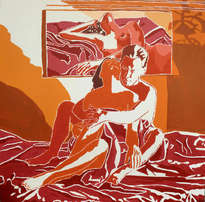 red painting of man and woman naked on bed nude male female painting erotic art