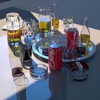 mesa con bebidas