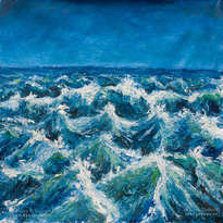 seascape oil painting on canvas: start sea storm
