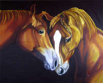 retratos al oleo de cabezas de caballos