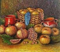 bodegón granadas y manzanas