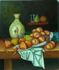 bodegón de fruta y jarrón