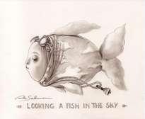el aviador buscando un pez en el cielo