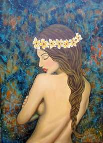 desnudo con plumerias.