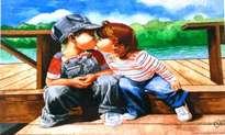 niños besándose