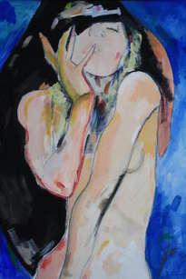 mujer y azul eléctrico