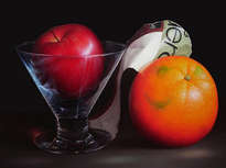 vaso con manzana