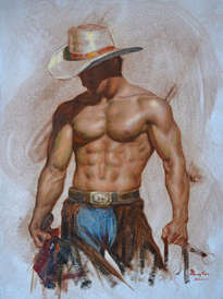 original oil painting art cowboy male nude on linen