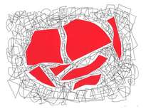 collage rojo con garabato