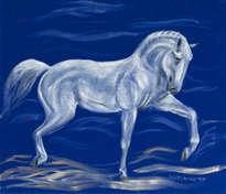 white horse on blue velvet