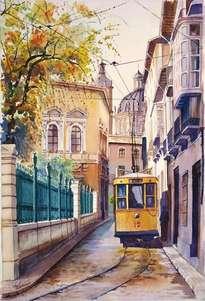 tranvía en calle escuelas