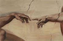 la creación de adán de miguel angel. fragmento. interpretación. the creation of adam by miguel angel. fragment. interpretation
