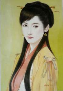 oil painting art-beautiful chinese girl by hongtao