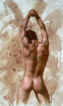 original oil painting art-male nude by hongtao