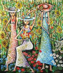 tres modelos en el jardin