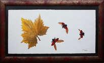 mariquitas y hoja en otoño