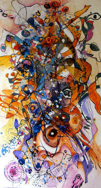 cocotier, abstract ,original art by e.bissinger