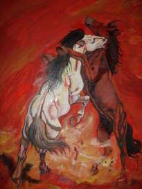 caballos que se pelean