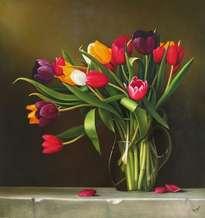 bodegón con tulipanes