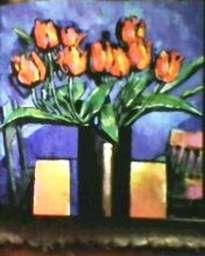 vaso c/tulipas vermelhas