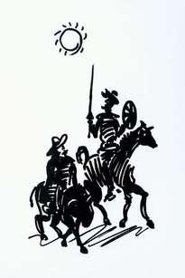 otros.cuadro dibujo, don quijote y sancho, cabalgando