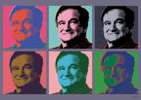 robin williams. retrato pop art estilo andy warhol