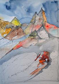 esquiador y montañas