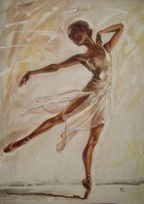 butterfly large 100x70cm ballerina brown light original oil painting, gift,