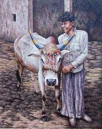niño con vaca sagrada