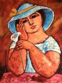 mujer con lirio