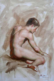 original oil painting -male nude  by hongtao