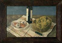 bodegón con patatas, ajos y cebollas