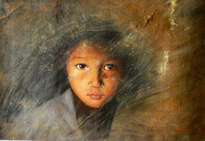 original oil painting -portrait of kid