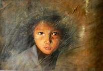 original oil painting -portrait of child