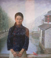 original oil painting art-chinese girl