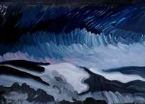 winter landscape (series - seascapes. north sea). wood, oil, 33-46, 1973.