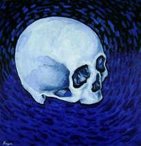 cráneo en azul