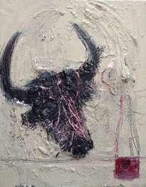 cabeza de toro y botella de vino