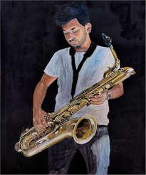 autorretrato con saxofón