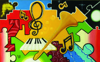 sinfonía de notas blancas