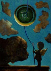 la luna - botón y el ojo de la aguja - (enmarcado)