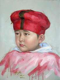 original oil painting art-cute baby