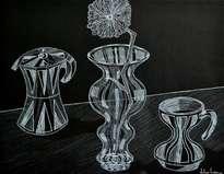 cafetera, floreo de vidrio con flor y taza