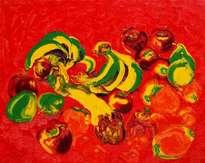 frukt na krasnom fone