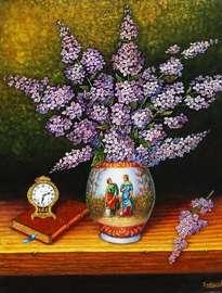 bodegón jarrón con lilas