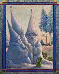 papás noel de nieve y los tres búhos - ( enmarcado)